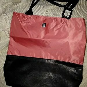 Ordning & Reda Tote Black Faux Leather Coral Color